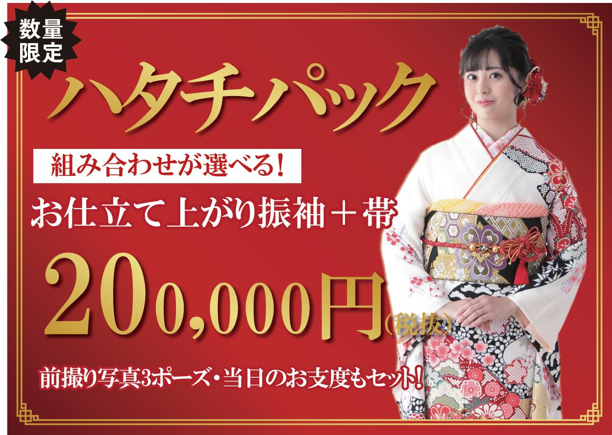 ハタチパック お仕立て上がり振袖+帯+前撮り3ポーズL+当日お支度で200,000円!