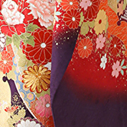 赤い振袖(菊)